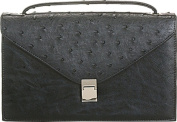 Aryana Rina6-Bk Chic Black Ostrich Texture Structured Single Strap Womens Handbag