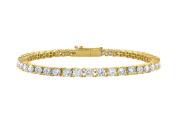 Fine Jewellery Vault UBAGVYRD131700CZ Tennis Cubic Zirconia Bracelet in 18K Yellow Gold Vermeil. 7 CT. TGW. 18cm .