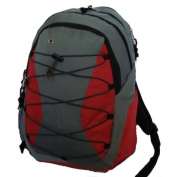 K-Cliffs Backpack With 3 Compartment & 1 CD Pouch - 18.5 x 30cm x 23cm . Grey & Red