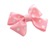 Twisties TW 103 Childrens Hair Bow With Metal Clip Pink Polka Dot