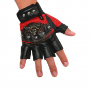 INRED Men's Studded Faux Leather Mesh Punk Gothic Inred Hip-hop Fingerless Skull Gloves