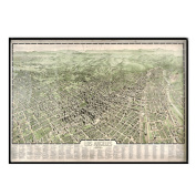 Universal Map 16194 Los Angeles 1909 Historical Print Framed Wall Map - Black