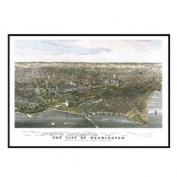 Universal Map 16205 Washington DC 1880 Historical Print Framed Wall Map - Black