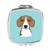 Carolines Treasures BB1177SCM Checkerboard Blue Beagle Compact Mirror 2.75 x 3 x .7.6cm .