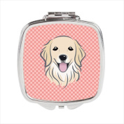 Carolines Treasures BB1205SCM Checkerboard Pink Golden Retriever Compact Mirror 2.75 x 3 x .7.6cm .