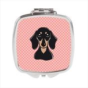 Carolines Treasures BB1215SCM Checkerboard Pink Smooth Black And Tan Dachshund Compact Mirror 2.75 x 3 x .7.6cm .
