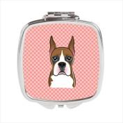 Carolines Treasures BB1223SCM Checkerboard Pink Boxer Compact Mirror 2.75 x 3 x .7.6cm .