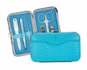 Brownlow Gift 102807 Manicure Set Faux Leather With Cross - Bubble Gum Blue 6 Tool Set
