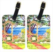 Carolines Treasures 6039BT Seaside Arbour Luggage Tag - Pair 2 10cm x 7cm .