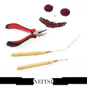 Neitsi Stick Hair Extension Remove Pliers + Pulling Hook + Bead Device Tool Kits for Silicone Micro Rings Beads Loops