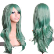 70 cm Colourful Cosplay Long Curly Hair Extensions Wig for Masquerade Party Halloween Christmas Accessory Green