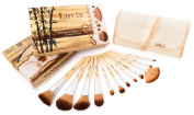 Luvia Cosmetics - Bamboo's Root - Make up brush set made of high quality Bamboo handle and original Taklon Hair - 12 Brushes including caringly designed linen pouch - Vegan - Also appropriated for people with pet hair allergy