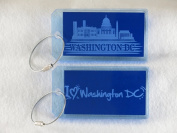 Destinations Neon Acrylic I.D. Tag - Wash DC Blue