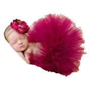 Jastore Photography Prop Baby Newborn Wine Red Tutu Costume Headband Dress