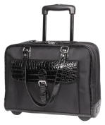 Heritage Travelware 830585 41cm . Black Nylon Twill & Patent Croco PVC Double Gusset Top Zip Wheeled Computer Tote