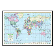 Universal Map 16187 World Primary Mounted & Black Framed Map