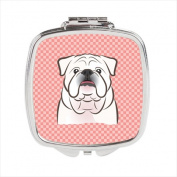 Carolines Treasures BB1220SCM Checkerboard Pink White English Bulldog Compact Mirror 2.75 x 3 x .7.6cm .