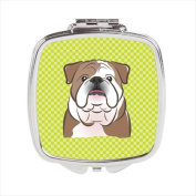 Carolines Treasures BB1281SCM Checkerboard Lime Green English Bulldog Compact Mirror 2.75 x 3 x .7.6cm .