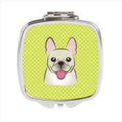 Carolines Treasures BB1300SCM Checkerboard Lime Green French Bulldog Compact Mirror 2.75 x 3 x .7.6cm .
