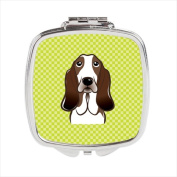 Carolines Treasures BB1305SCM Checkerboard Lime Green Basset Hound Compact Mirror 2.75 x 3 x .7.6cm .