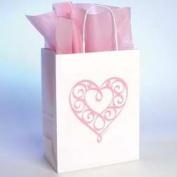 Bob Siemon Designs 58072 Gift Bag Heart With Tissue Sml White