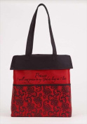 Christian Brands 62586 Tote Canvas Praise Red Black 14 x 14