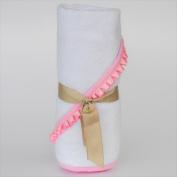 Little Ashkim BHTNBP Newborn Hooded Bamboo Turkish Towel - White With Pink Ribbon