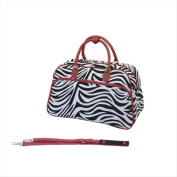 World Traveller 814102F-163R Deluxe Shoulder Travel Bag Red Zebra
