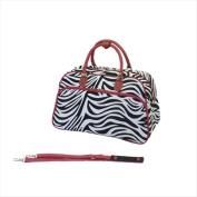 World Traveller 814102F-163R Deluxe Shoulder Travel Bag Red Zebra