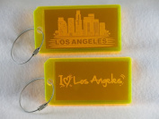 Destinations Neon Acrylic I.D. Tag - Los Angeles Yellow