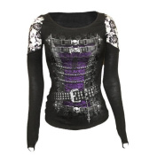 SPIRAL DIRECT Ladies Goth WAISTED Pirate Corset Lace Top L/Sleeve All Sizes