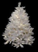 NorthLight 1.4m Pre-Lit White Sparkle Spruce Artificial Christmas Tree - White LED Lights