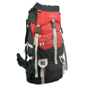 Harvest LM039-Blk-Red 600D Rip-Stop Poly Hiking Backpack with Rain Cover