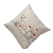 Cutebaby Vintage Christmas Cute Dog Sofa Bed Home Decoration Festival Pillow Case Cushion Cover