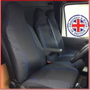 Ford Transit 2005 Van Seat Covers Single Drivers And Double Passengers Seat Covers Black And Blue Piping