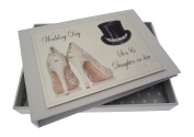 White Cotton Cards Son and Daughter-in-Law Wedding Day Tiny Album