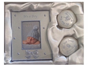 BABY BOYS first curl tooth set with photo frame Birth Christening gift