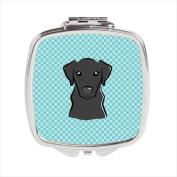 Carolines Treasures BB1173SCM Checkerboard Blue Black Labrador Compact Mirror 2.75 x 3 x .7.6cm .