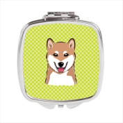 Carolines Treasures BB1287SCM Checkerboard Lime Green Shiba Inu Compact Mirror 2.75 x 3 x .7.6cm .
