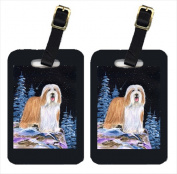 Carolines Treasures SS8451BT Starry Night Bearded Collie Luggage Tags - Pair Of 2