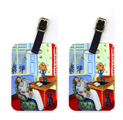 Carolines Treasures 7166BT Pair of 2 Lady with her Pug Luggage Tags