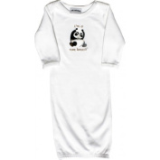 Lil Cub Hub 3WLSOGP-03 White Long Sleeve Gown - Panda 0-3 months