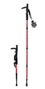 Microgear EC16329-Black Durable Antishock Hiking Cane Adjustable Walking Pole Trekking Stick - Red