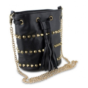 Mad Style 317855 Studded Drawstring Crossbody Bag Black