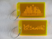 Destinations Neon Acrylic I.D. Tag - Seattle Yellow