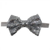 Rarelove Baby Girls Headband Silver Bowknot Sequin Hair Bands Accessories