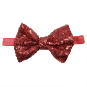 Rarelove Baby Girls Headband Wine Red Bowknot Sequin Hair Bands Accessories