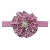 Rarelove Baby Girls Headband Dark Pink Flower Sequin Bead Rhinestone Hair Bands Accessories