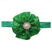 Rarelove Baby Girls Headband Christmas Green Flower Sequin Bead Rhinestone Hair Bands Accessories