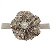 Rarelove Baby Girls Headband Grey Flower Sequin Bead Rhinestone Hair Bands Accessories